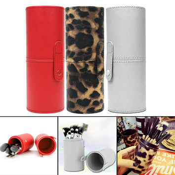 1PC 3Color Travel PU Leather Cosmetic Brush Pen Holder Storage Makeup Empty Holder Container Box MakeUp Tools GUB#