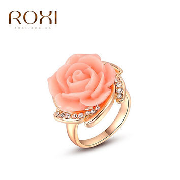 ROXI Free Shipping Platinum Plated Romantic Elegant Pink Rose Ring Statement Rings Fashion Jewelry For Women Party Wedding