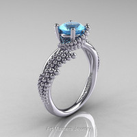 Nature Inspired 14K White Gold 1.0 Ct Aquamarine Sea Engagement Ring R399-14KWGAQ