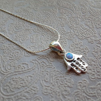 Sterling Silver Hamsa Necklace Pendant,  Blue Opal, Jewish, Israel, Good Luck, Evil Eye