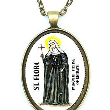St Flora Patron Saint of Victims of Betrayal Huge 30x40mm Antique Bronze Gold Pendant with Chain Necklace