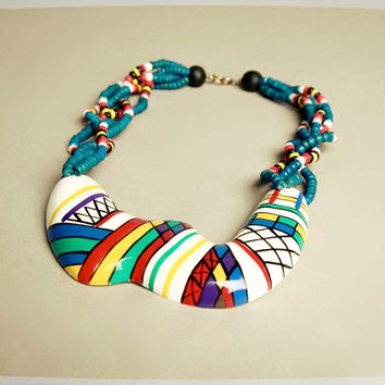 Hand Painted Necklace Wooden Beads Modernist Bold Design 70s True Vintage Jewelry
