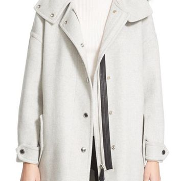 Burberry Meldonbridge Hooded Coat with Genuine Fox Fur Trim | Nordstrom