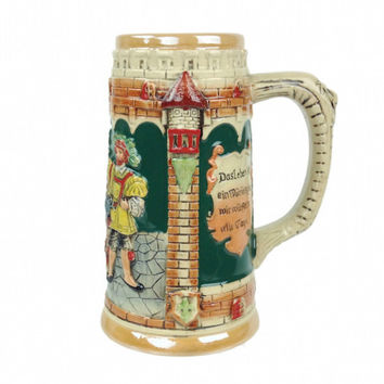 German Castle Engraved Beer Mug without Lid