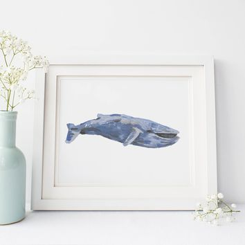 Watercolor Blue Whale Wall Art Print