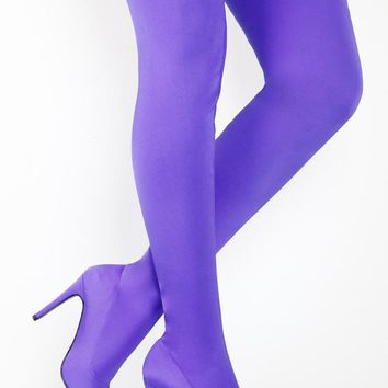Bali High Heel Pointy Toe Purple Stretch Lycra Stocking Thigh Boots