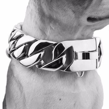 24/30mm Wide Heavy Silver Stainless Steel Casting Cuban Curb Dog Chain Collar Customize Size 18-26 Inches For Strong Dogs Choker