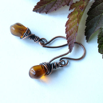 Wire wrapped amber earrings - copper & honey topaz glass