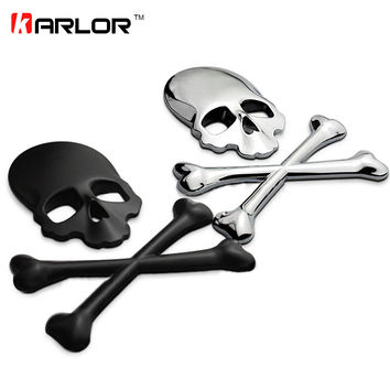 3D Skull Metal/ABS Skeleton Crossbones Car Motorcycle Sticker Label Skull Emblem Badge car styling stickers decal accessories