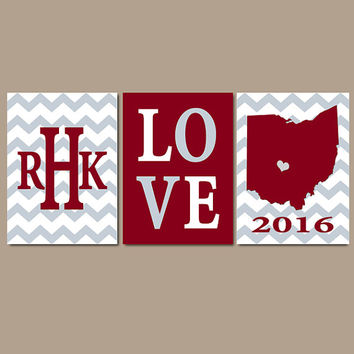 Ohio State Chevron Custom Family College Monogram Initial State LOVE School University Gift Wedding Set of 3 Wall Art Canvas or Print