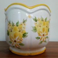 Large Yellow Flowers Planter, Ceramic Pot, Mid Century Hand Painted Plant Pot, FREE US Shipping