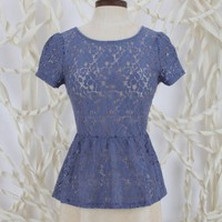 Altar'd State Pleasantly Peplum Lace Top - Short Sleeve - Tops - Apparel