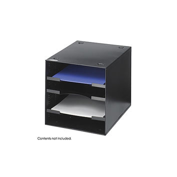 Safco Home Office Desktop File Sorter And Organizer, 4 Compartment, Black-BL