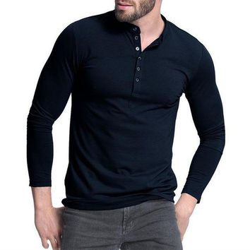 DCCKON3 mens henley shirtpopular design tee tops long sleeve stylish slim fit plain t shirt button placket casual men t shirts