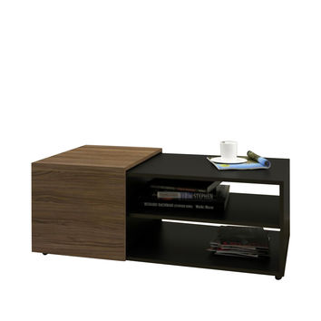 Cadiz Storage Coffee Table - Black/Walnut
