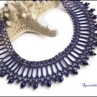Purple Glass Pearl Victorian Style Handmade Purple Beaded Necklace