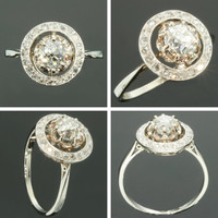 Art Deco diamond engagement ring white gold 1920s jewelry