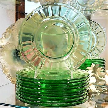 1930s Green Vaseline Uranium Depression Glass Plates Luncheon Art Deco Vintage Kitchen Country Cottage Farmhouse Home Decor Wedding  QTY 10