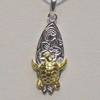 SILVER 2 TONE HAWAIIAN SEA TURTLE ON SURFBOARD PENDENT
