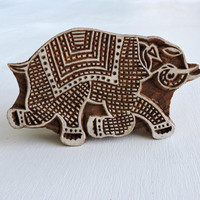 Running Elephant Stamp: Block Stamp, Hand Carved Wood Stamp, Indian Printing Block, Wooden Ceramic Textile Pottery Clay Stamp, India