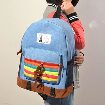 On Sale Comfort Casual Back To School Hot Deal College Stylish Korean Canvas Zippers Strong Character Backpack [6582665351]