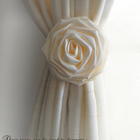 "Set of 2, Large 5"" Handmade Ivory Silk Roses for Weddings, Aisles, Pews, Chairs, Cake Toppers, Ties Backs. Made to Order."