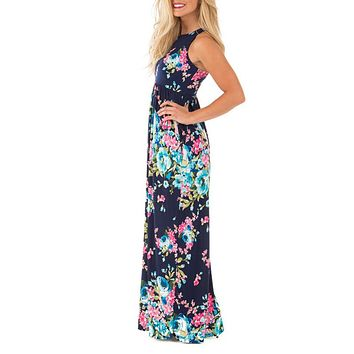 Boho Floral Printed Sundress - Summer Sexy Pleated Maxi Dress