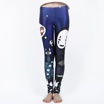 MOKAWA Miyazaki Ghibli Leggings Graffiti Spirited Away Cartoon Printing Sexy Elastic Leggins Pants Harajuku Plus Size Leggings