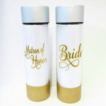 Personalized Coffee Cup * Bridal Water Bottle  * 32oz water bottle * Personalized Water Bottle * BPA free * Glitter dipped water bottle