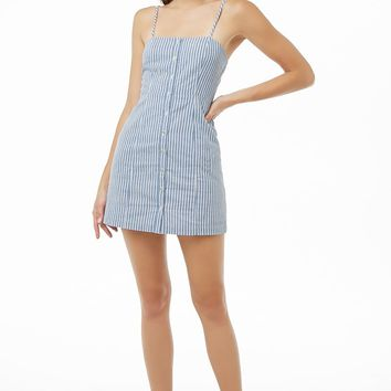 Striped Button-Front Cami Dress