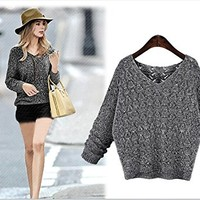 Jade Womens long sleeved V-neck sweater Loose hollow bat sleeve knitted Pullover