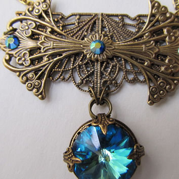 Art Nouveau Necklace Set 1920s Filigree Necklace Set Swarovski Bermuda Blue Necklace- Ocean Dreams