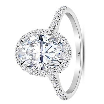 .2.75 Carat GIA Certified 14K White Gold Halo Oval Cut Diamond Engagement Ring (2 Ct D Color VS1 Clarity Center)