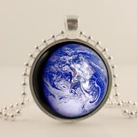 Earth, Planet, Space, Astronomy glass and metal Pendant necklace Jewelry.