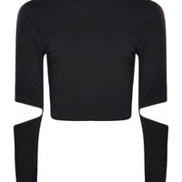 Becky Cut Out Elbow Roll Neck Crop