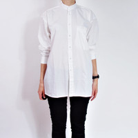 90s White Minimalist Stand-Up Collar Shirt / Asian Workwear Style Shirt / Men S Women M-L