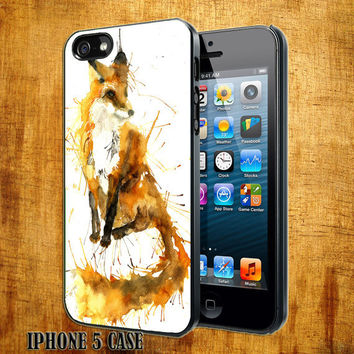 Fox Abstract Animal Design On Hard Plastic Cover Case, IPhone 4,4S or IPhone 5 Case, Samsung Galaxy S2,S3 or S4 Case