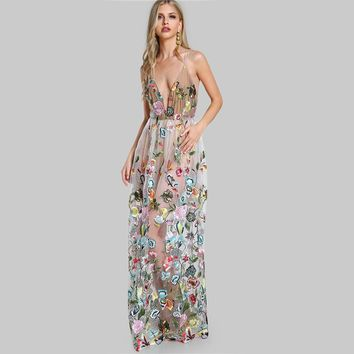 Double Strap Embroidered Mesh Overlay Dress Multicolor