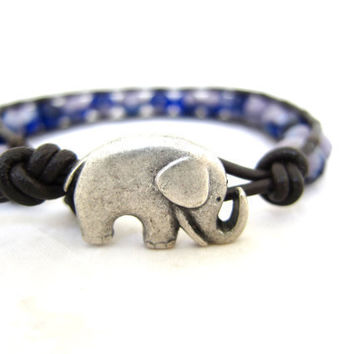 Lavender and Cobalt Blue Chunky Bohemian Beach Wrap Bracelet HandMade on Maui, Hawaii. Picasso Czech Glass With Silver Good Luck Elephant