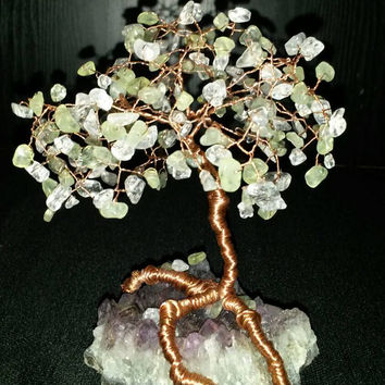 Green garnet and quartz crystal tree of life ..handmade copper wire wrap amethyst geode
