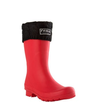 ROMA Women's Short Black Cable Knit Boot Liner