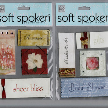 Wedding Shower Romance Stickers Destash, fabric stickers, scrapbook embellishments,Me and My Big Ideas Soft Spoken