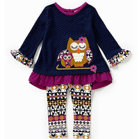 Rare Editions 12-24 Months Owl-Appliqued Top & Printed Legging Set | Dillards