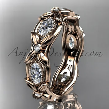 14kt rose gold diamond leaf and vine wedding ring,engagement ring. ADLR152. Nature inspired jewelry