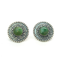 Southwestern Concho Style Earrings Green Gemstone Sterling Silver Embossed Flower Discs Mexican Navajo Screw Backs Vintage 1930s Jewelry