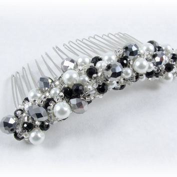 Sparkly Hand Beaded Black Silver and White Hair Comb Accessory