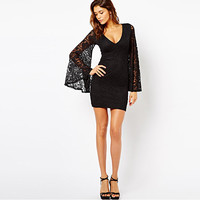 European and American women new spring long sleeve lace horn sleeve V-neck dress sexy tight Slim