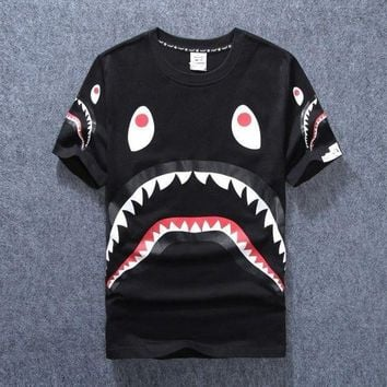 PEAPGZ9 New men's tide brand shark mouth men and women couple round neck short sleeve [140551290892]