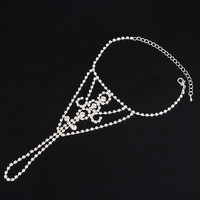 Slave Chain Anklet Clear Rhinestone Silver Plated Sparkly Toe Ring Bare Foot Jewelry for Women