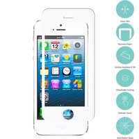 White Tempered Glass Film Screen Protector Colored for Apple iPhone 5 / 5S